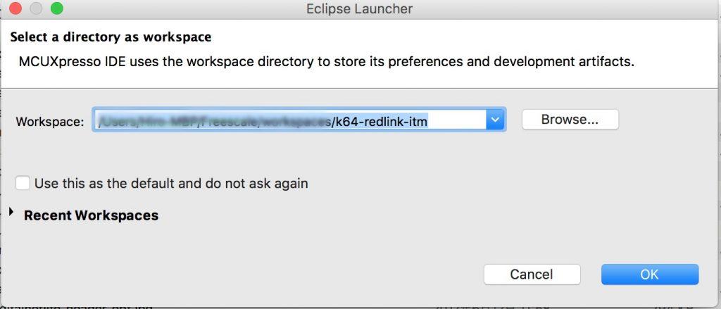 MCUXpresso IDEワークスペースの選択