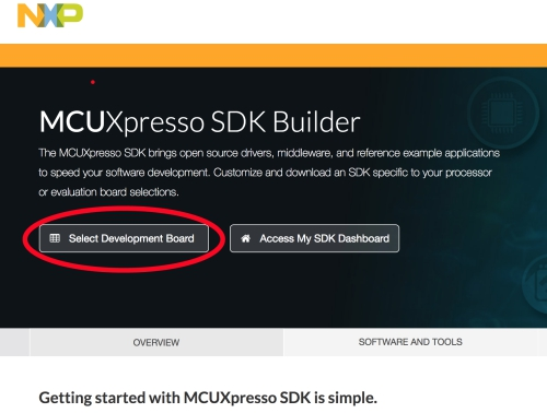 MCUXpresso SDKビルダーページ