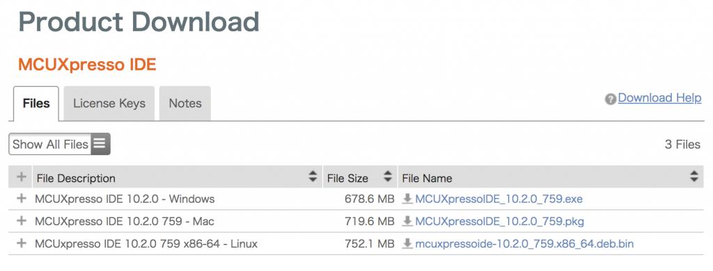 MCUXpresso IDE OSバージョンの選択